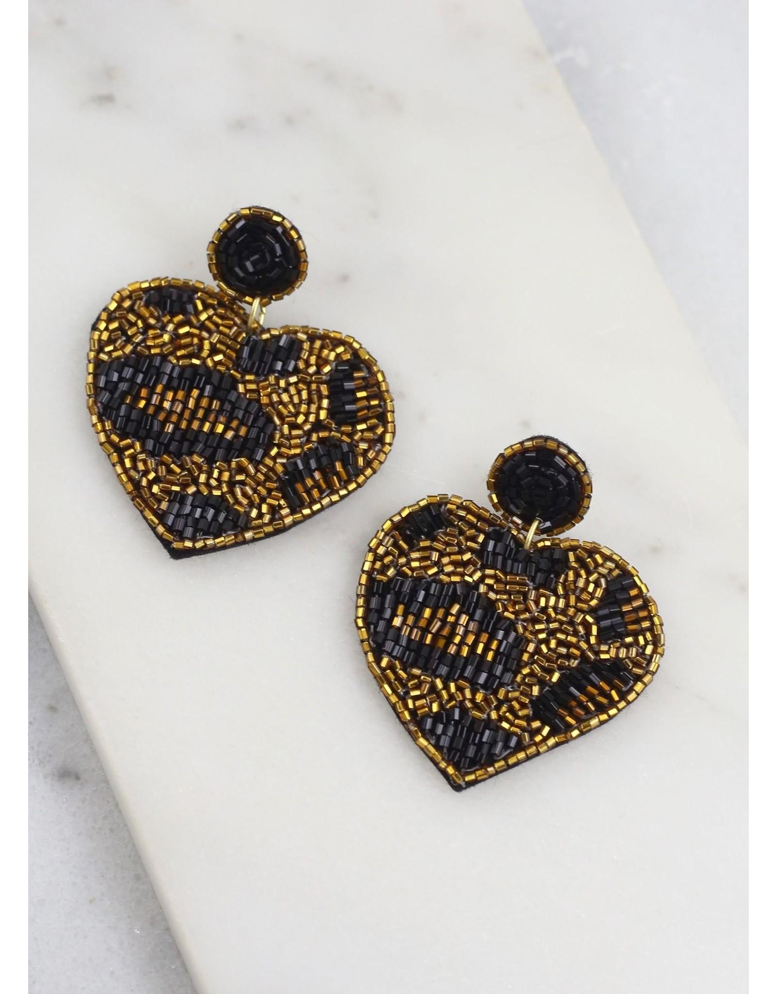 Cornella Beaded Leopard Heart Earrings