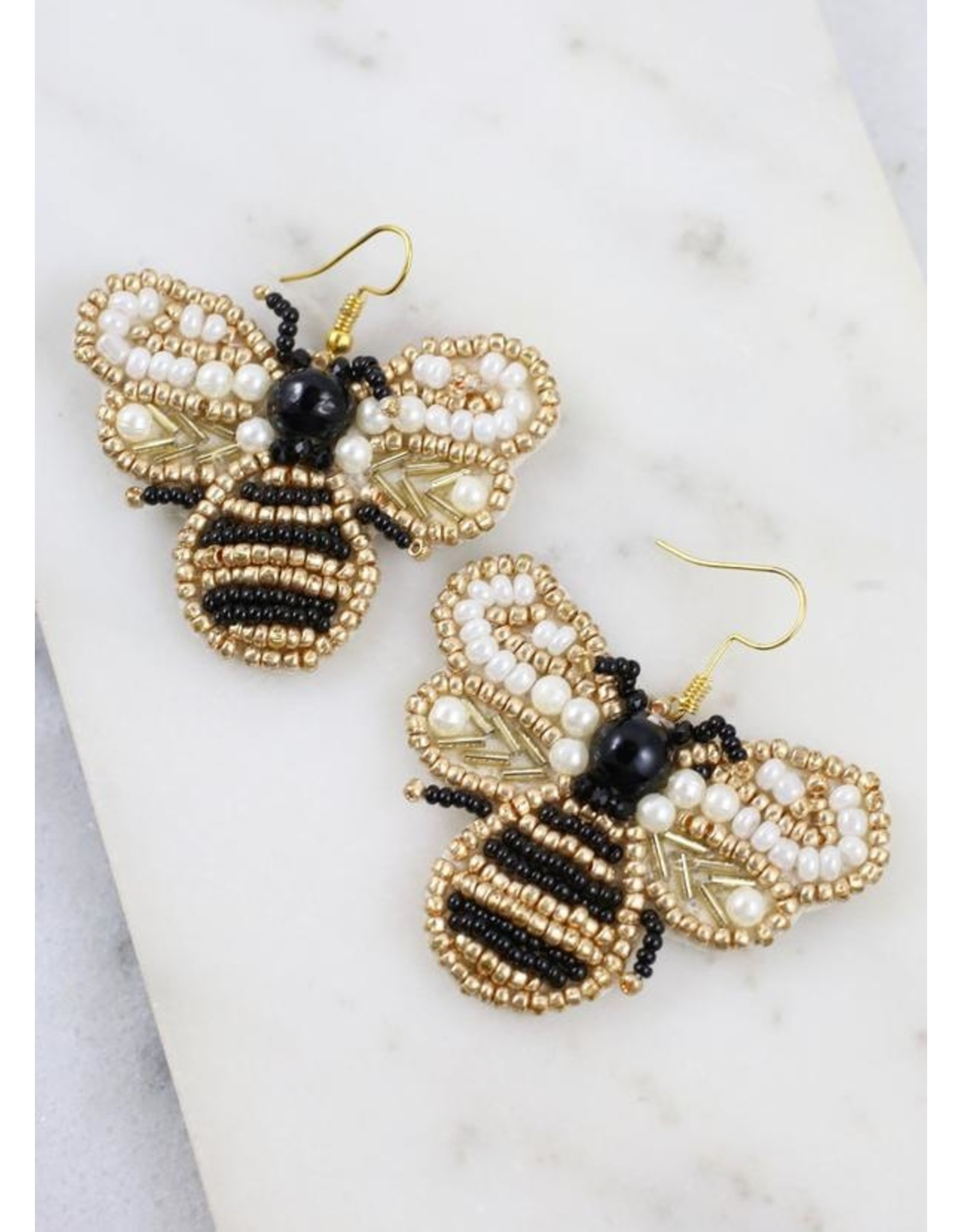 Buzzy Beaded Bee Earrings