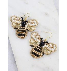 Buzzy Beaded Bee Earrings