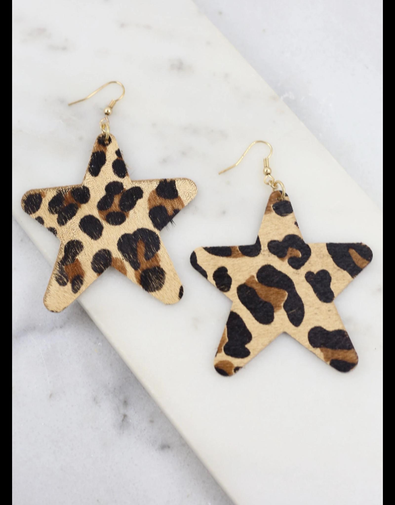 Gavin Leopard Star Earrings