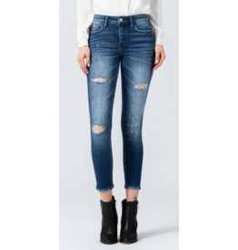 Mid Rise Distressed Ankle Jeans