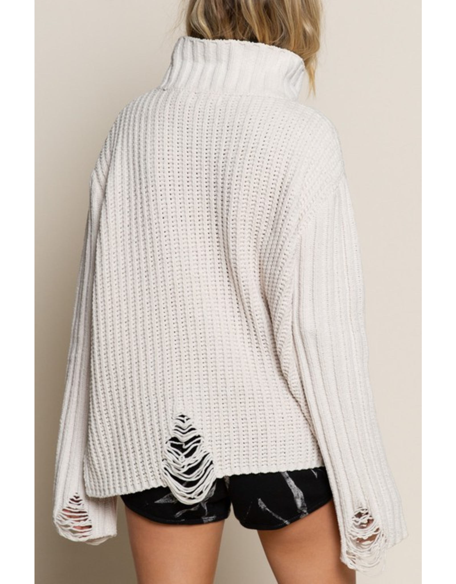 Distressed Turtle Neck Sweater
