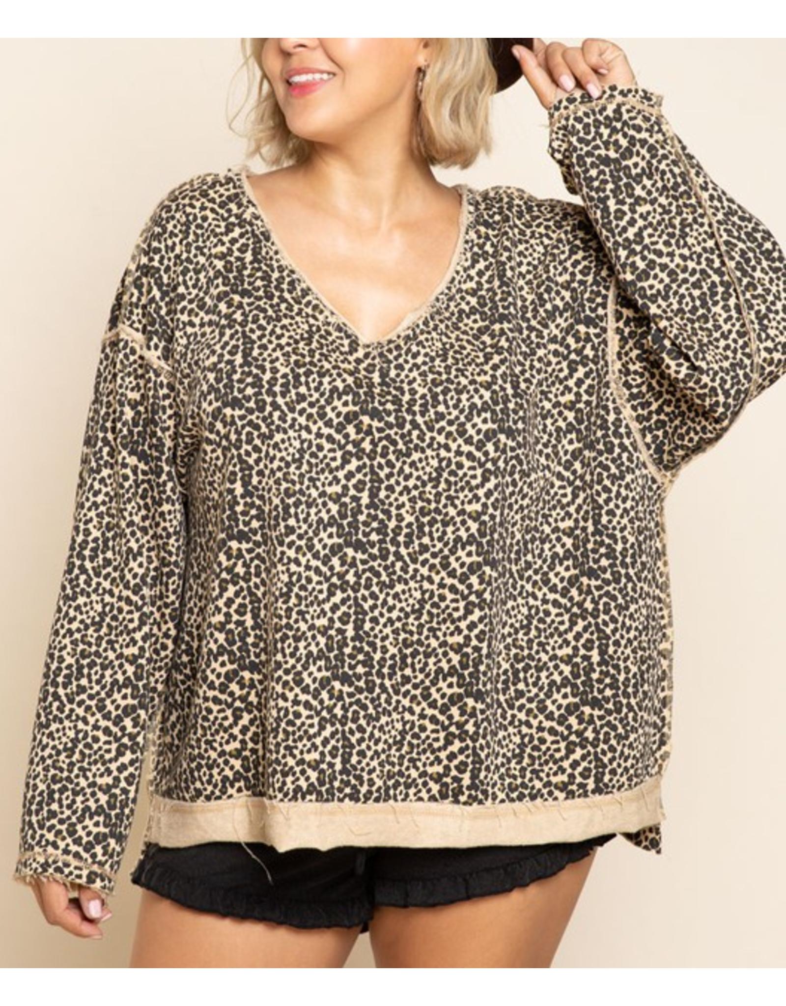 Leopard Reversible French Terry Top - Hazelnut