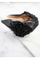 Beaded Satin Headband - Black