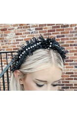 Fringe and Pearls Headband - Black