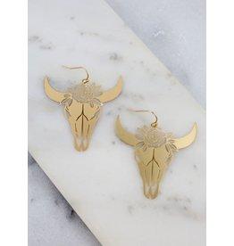 Schuyler Floral Skull Earrings
