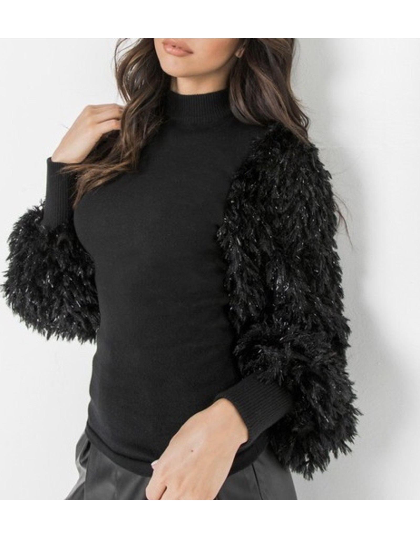 Shaggy Sleeves Sweater Top - Black