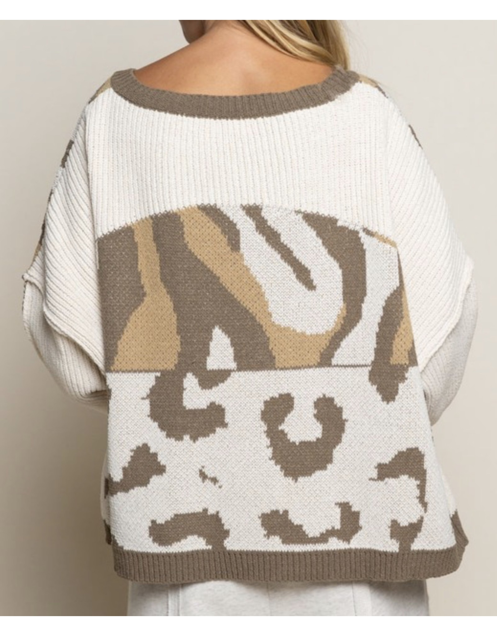 Camo Color Block Sweater - Olive
