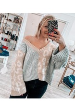 Color Block Leopard Sweater