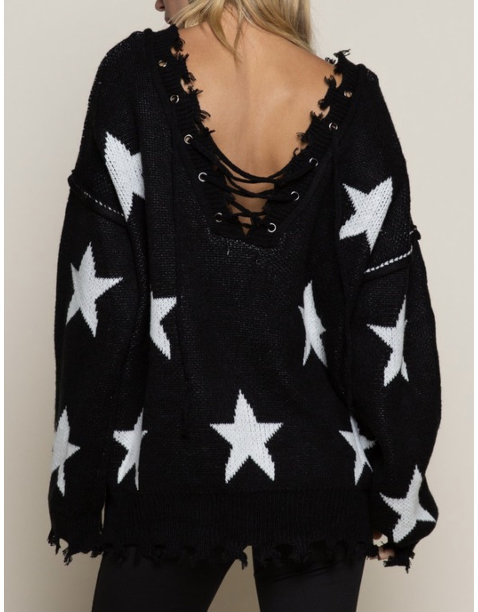 Lace Up Star Sweater - Black