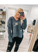 Distressed Star Sweater Hoodie - Charcoal