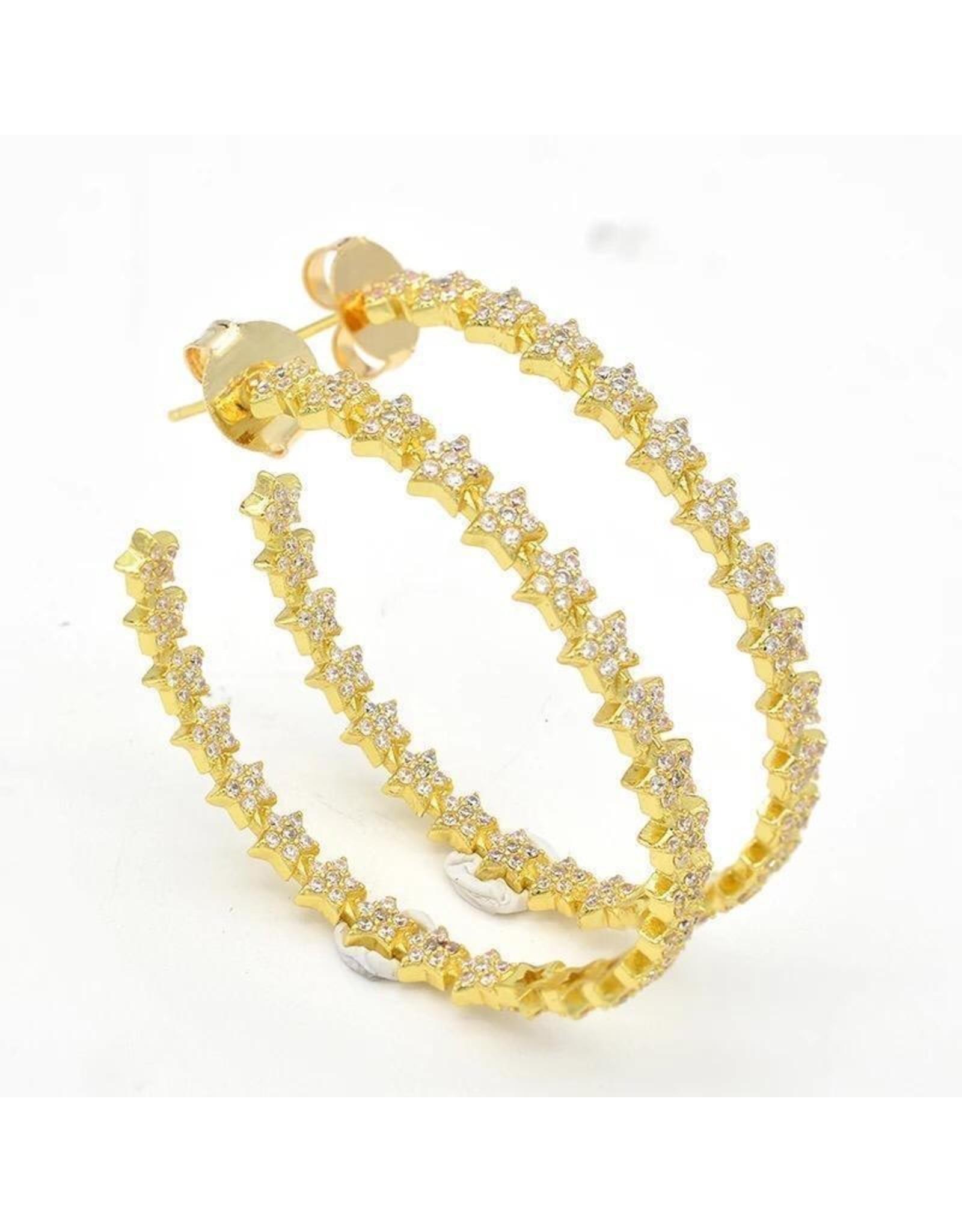 Treasure Jewels Star Crystal Hoops Earrings
