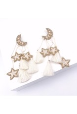 Treasure Jewels Star Moon Tassel Earrings