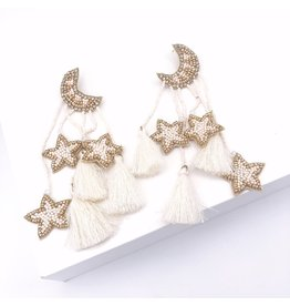 Treasure Jewels Star Moon Tassel Earrings