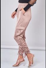 Ruched Detail Satin Pants - Mink