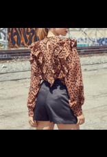 Leopard Ruffle Top - Brown