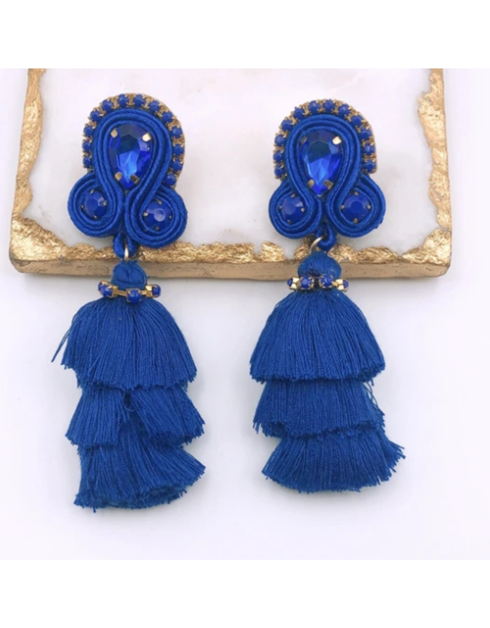 Treasure Jewels Fiesta Tassel Earrings - Blue