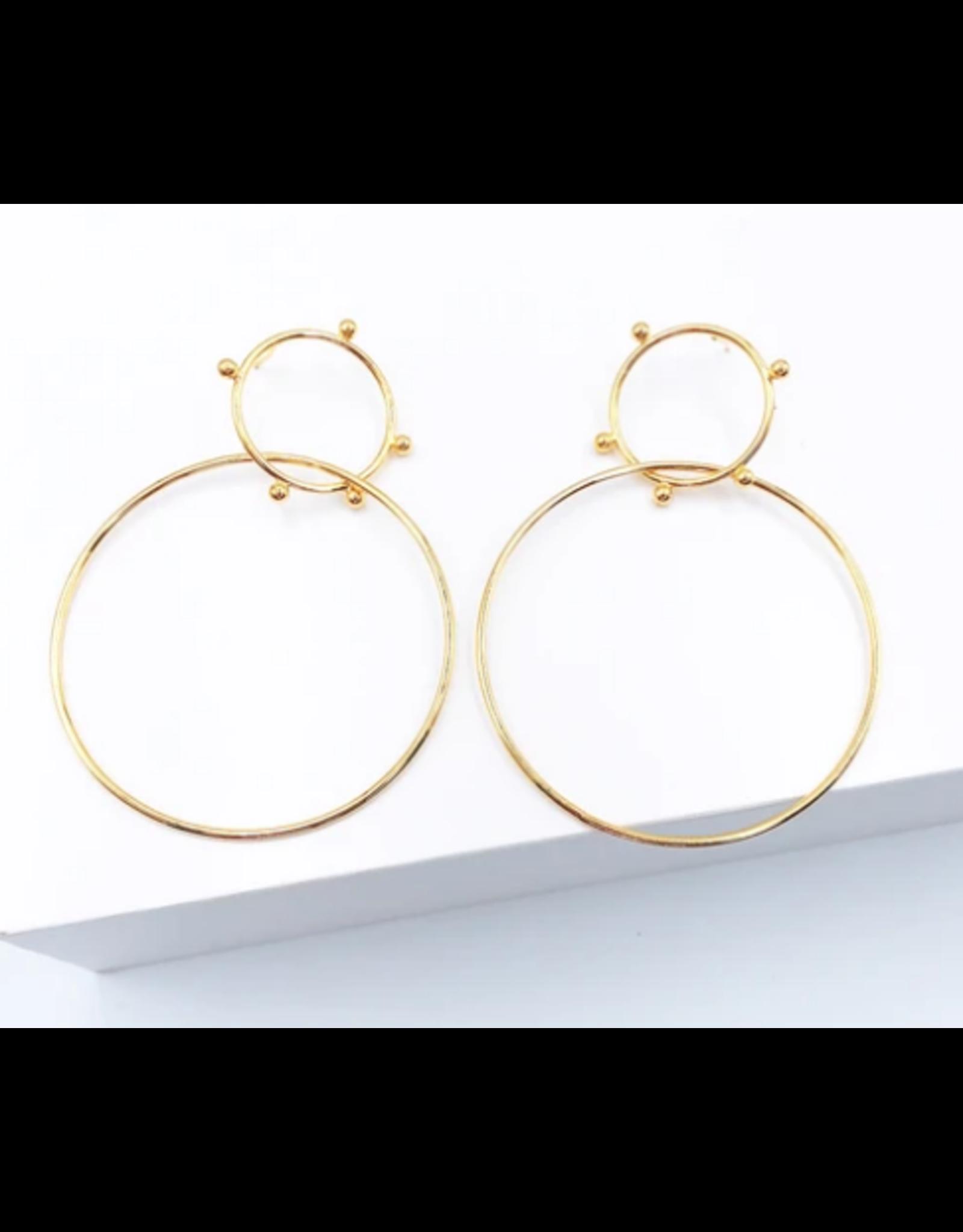 Treasure Jewels Double Spike Hoop Earrings