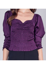 Smocked Puff Sleeves Top - Plum