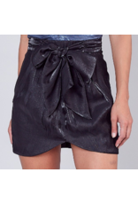 Bow Detail Metallic Mini Skirt - Black