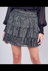 Metallic Thread Layered Skirt - Black