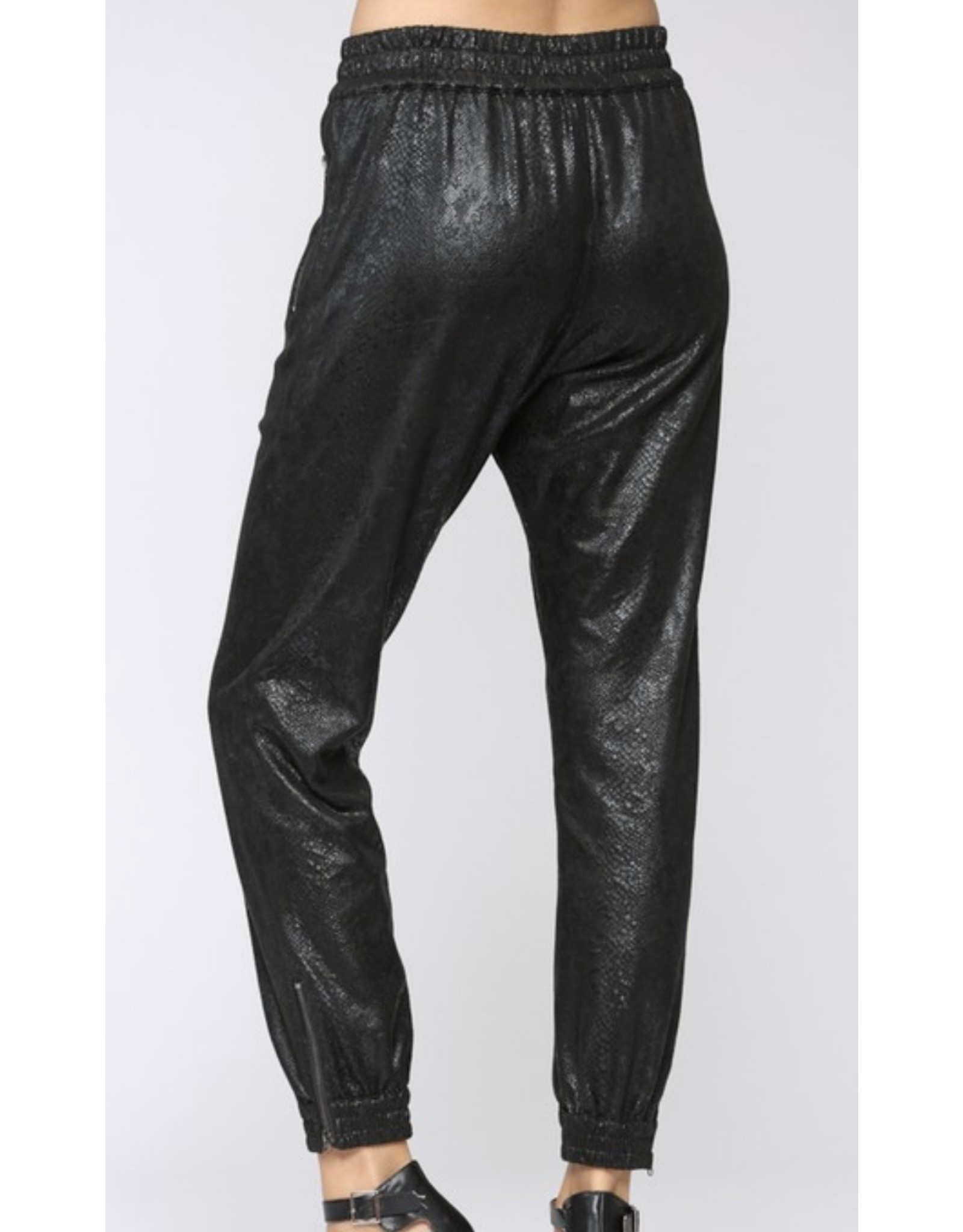 Faux Suede Snake Skin Joggers - Black