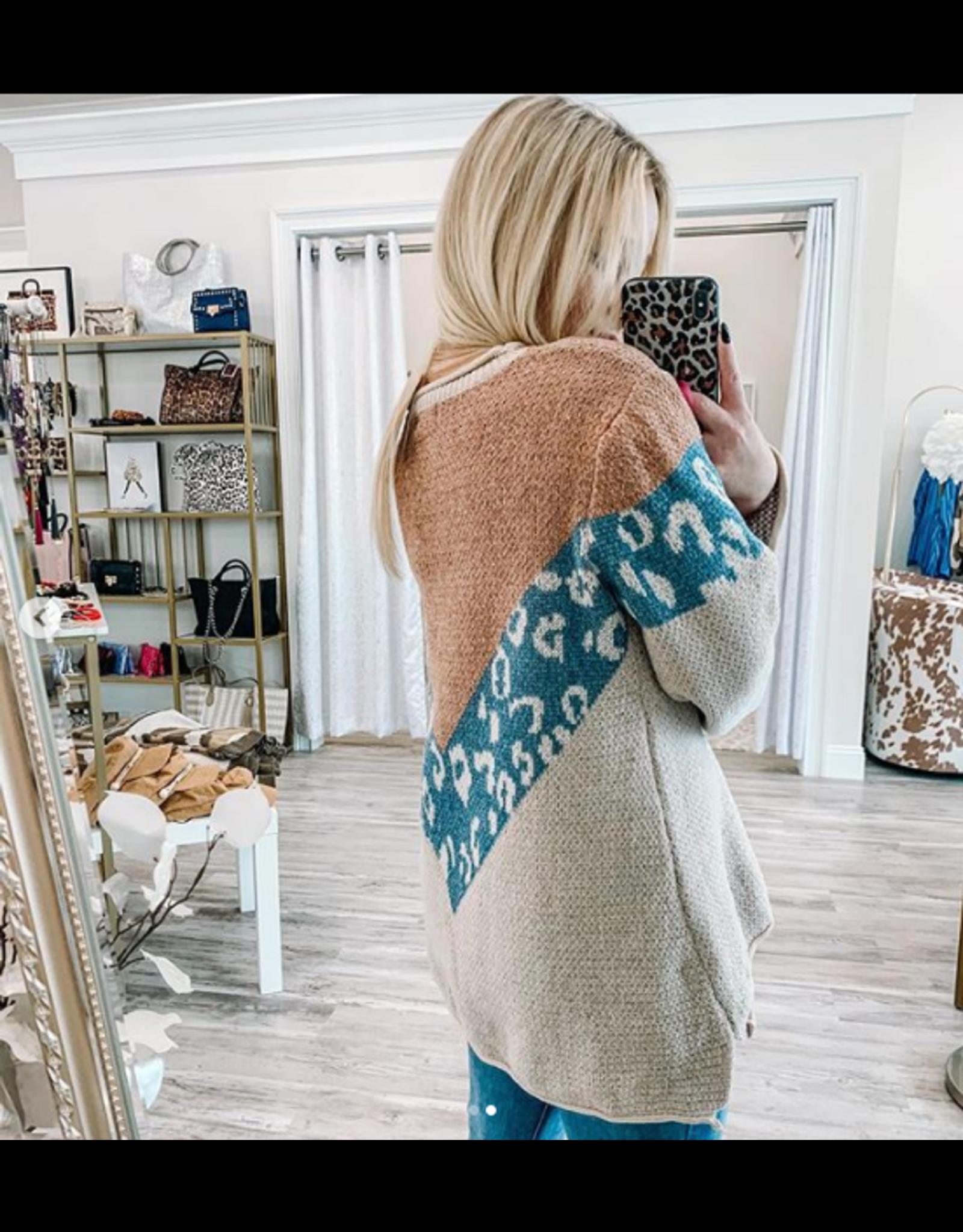 Leopard Color Sweater - Pink/Blue