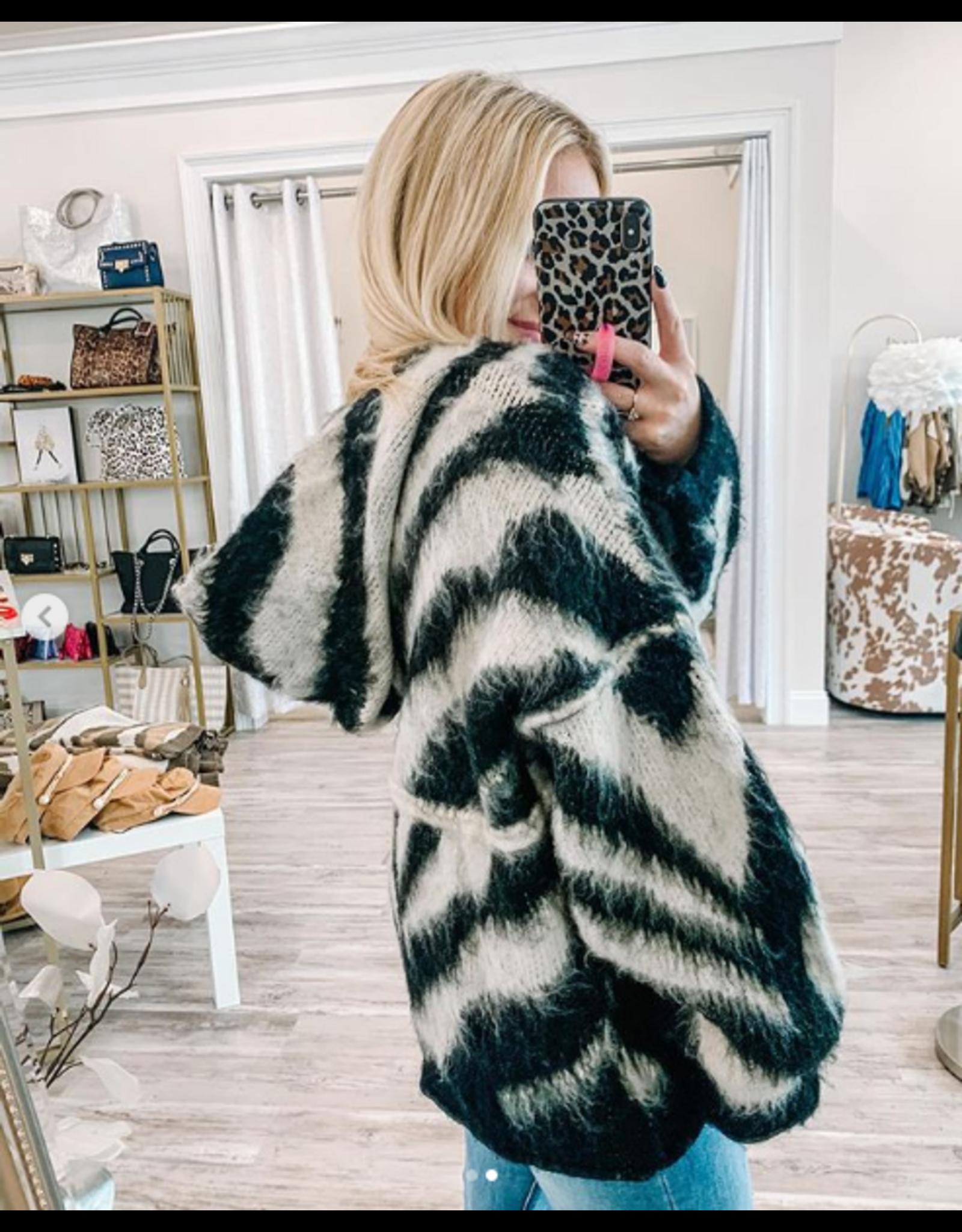 Fuzzy Zebra Hoodie - Black