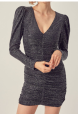 Ruched Party Dress - Black/Rose Gold