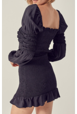 Smocked Satin Dress - Black