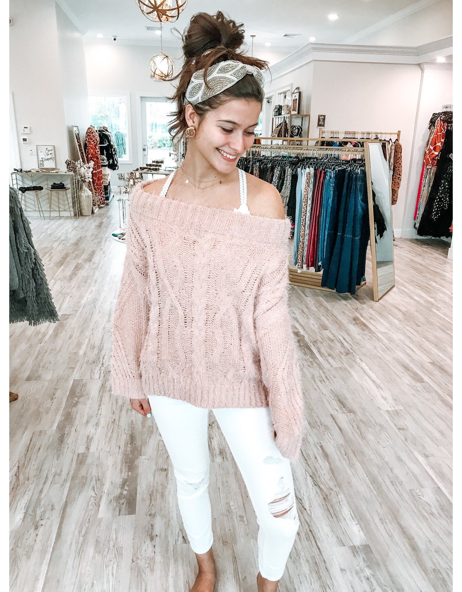 Off Shoulders Cable Sweater - Blush
