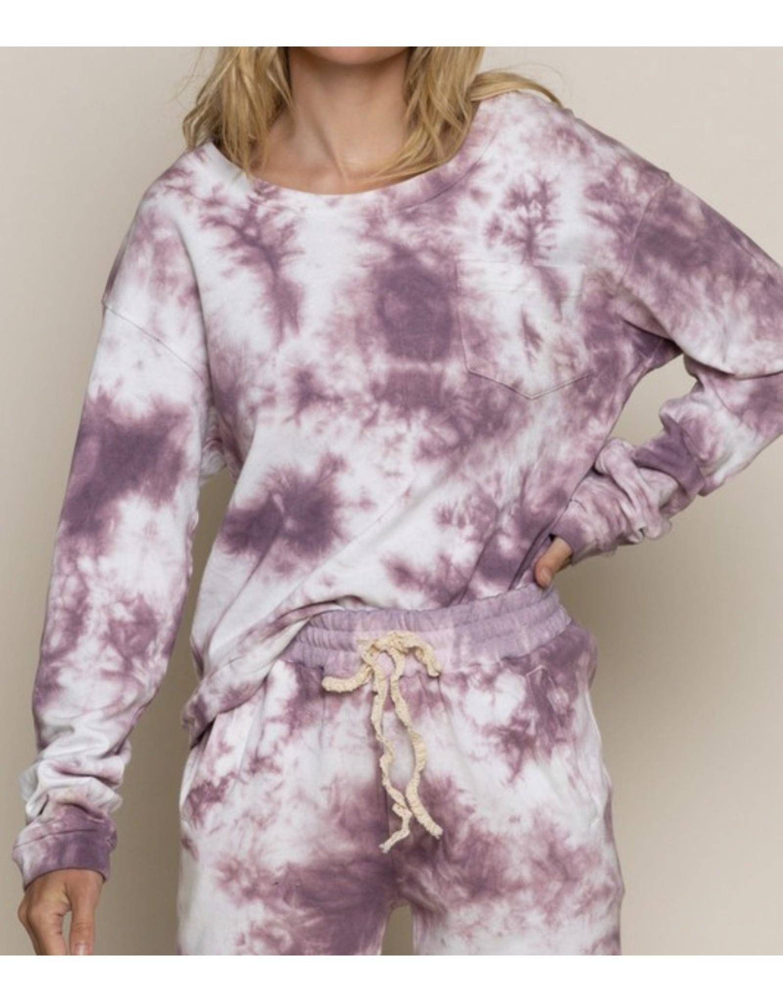 Oversized Tie Dye Top - Berry