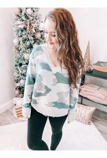 Camo Distressed Sweater - Blue