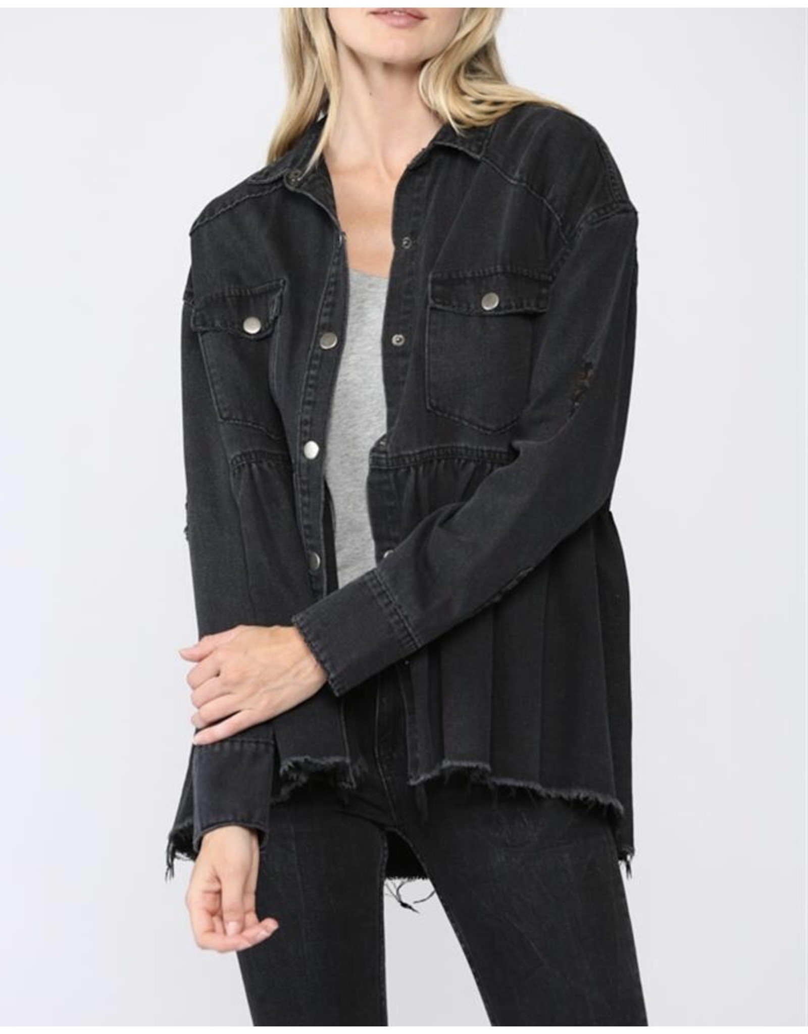 Washed Denim Ruffle Jacket - Black