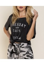 Taco and Tequila Tee- Washed Black