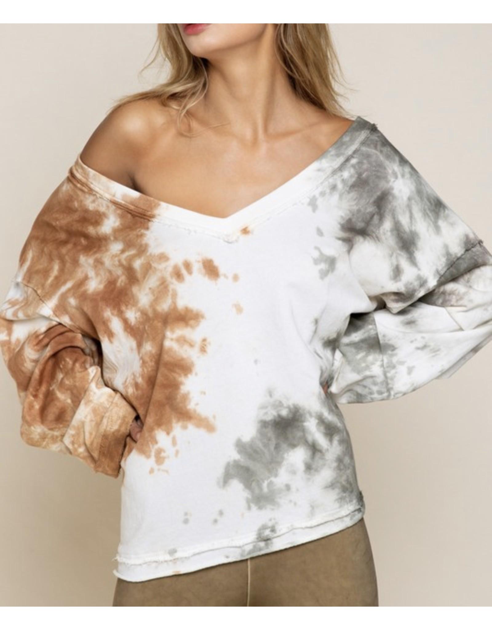 Dip Dye Raw Hem Top - Coffee