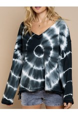 Dip Dye Raw Hem Top - Black/Navy