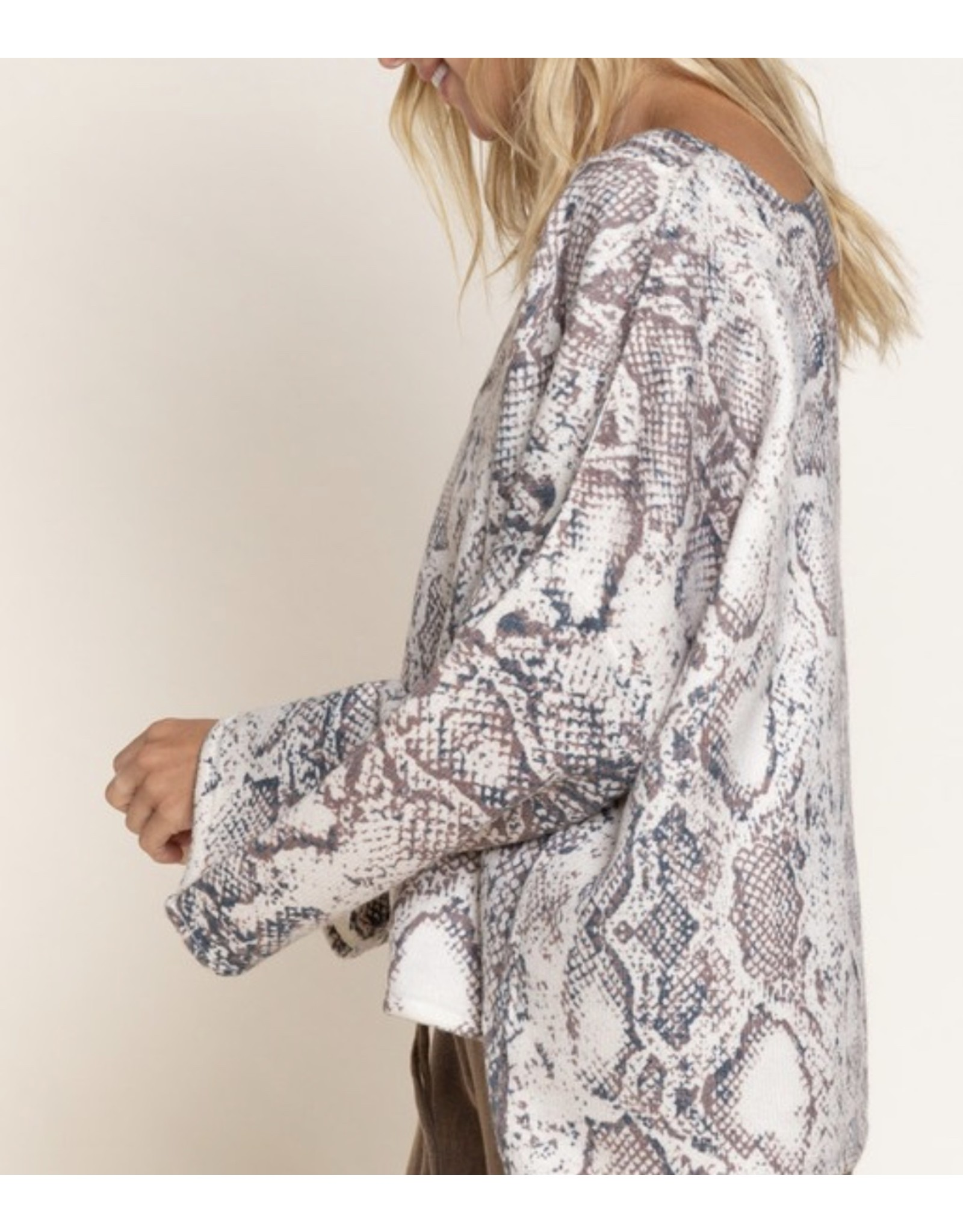 Oversized Snake Print Sweater - Taupe