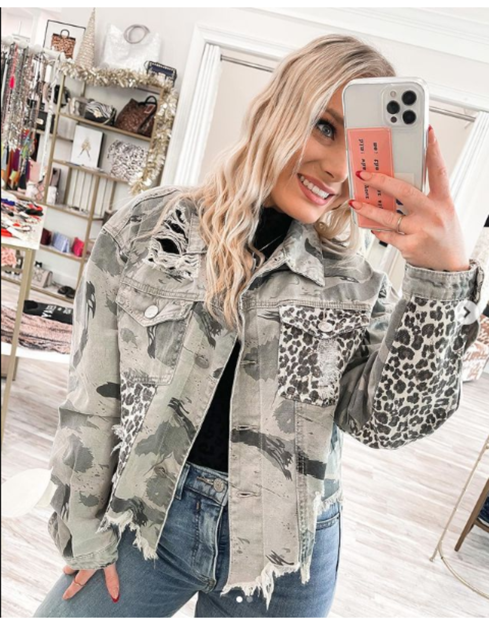Camo/Leopard Denim Jacket