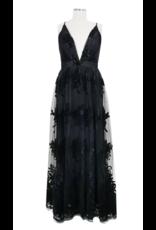 Floral Mesh Maxi Dress - Black