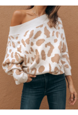 Off Shoulders Leopard Sweater - Camel