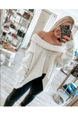 Hi/Low Oversized Popcorn Sweater - Almond