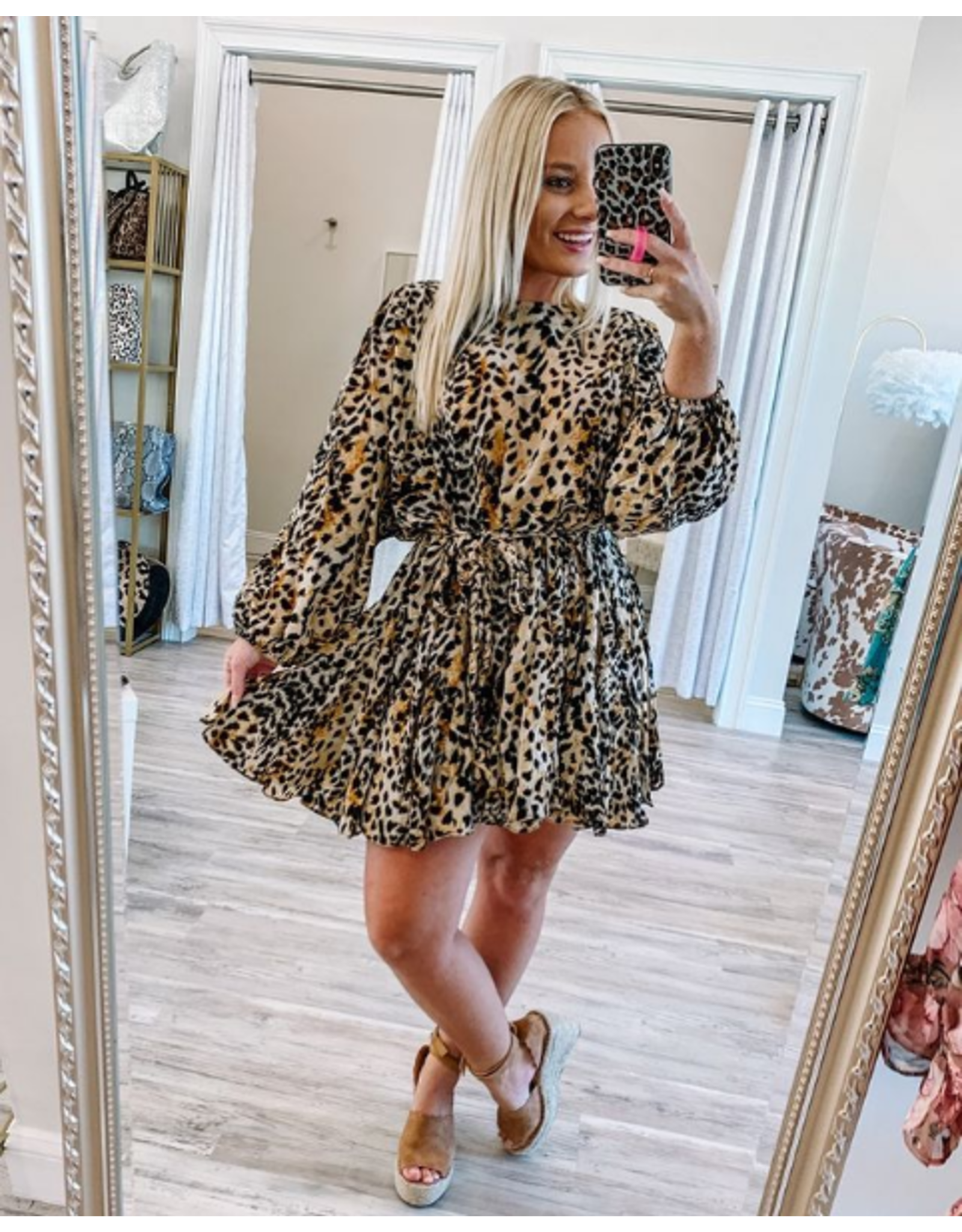 Braided Belt Leopard Dress - Tan