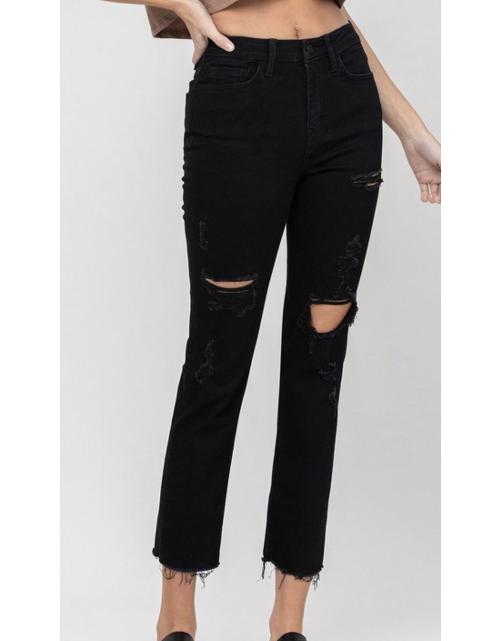 Farrah  High Rise Distressed Jeans - Black