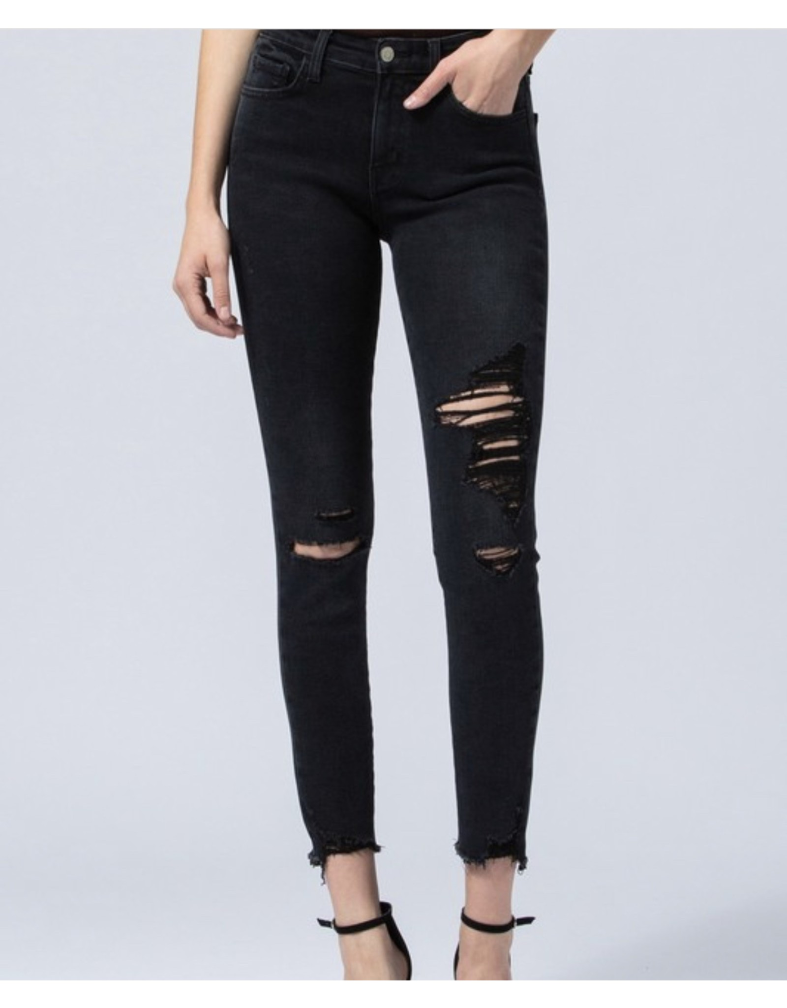 Gina Mid Rise Distressed Jeans - Washed Black
