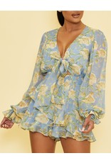 Floral Tie Detail Romper - Blue