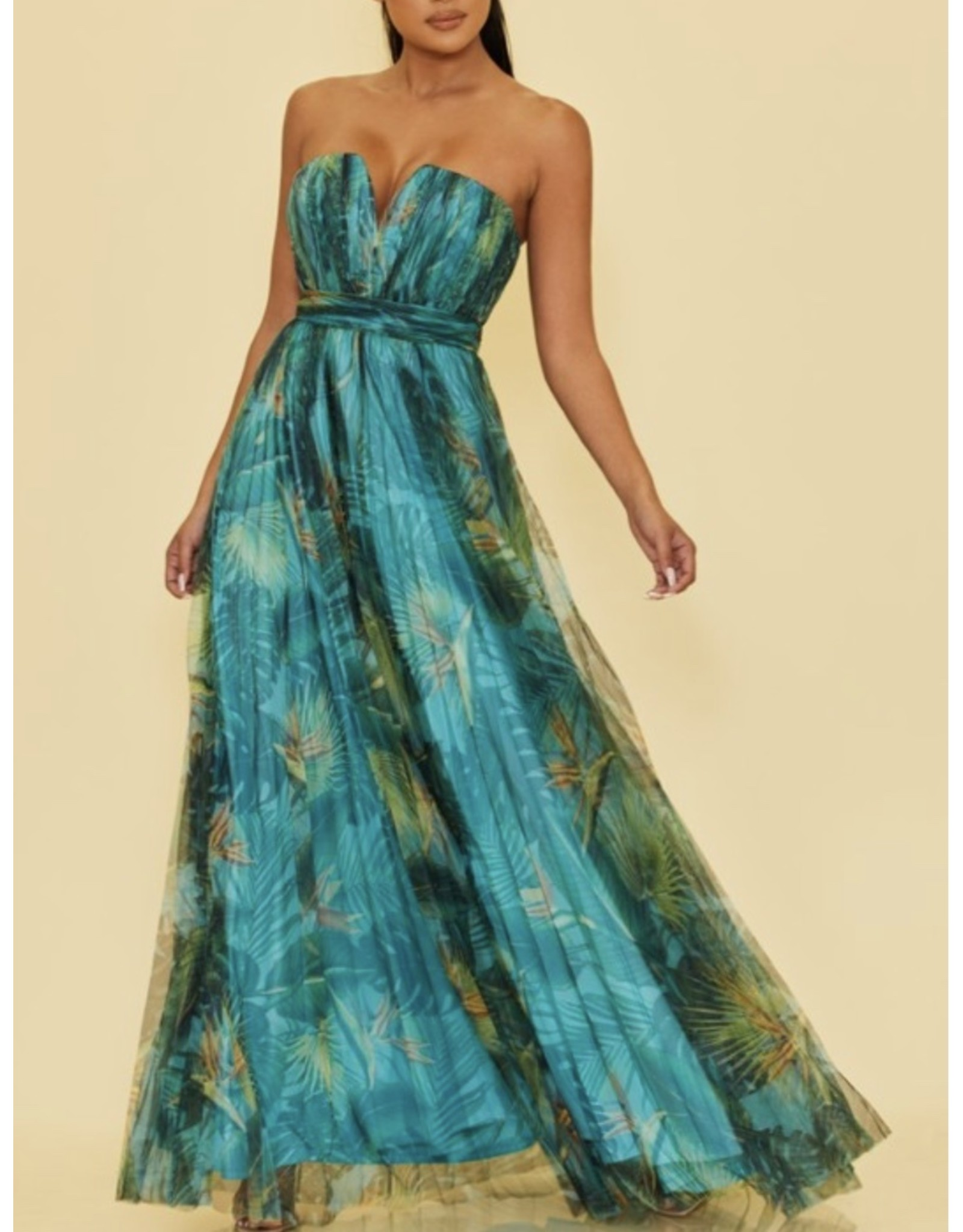 Tropical Pleated Maxi Dress - Green