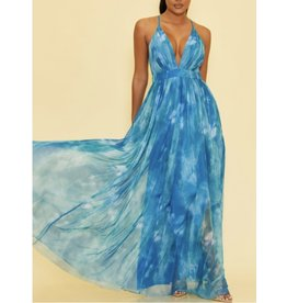 Tie Dye Maxi Dress - Blue