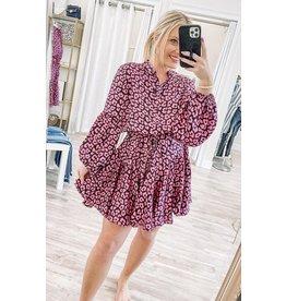 Satin Leopard Dress - Magenta