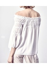 Smocked Detail Off Shoulders Top - White